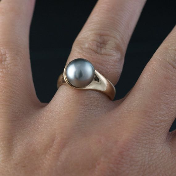 Modern Tahitian Black Pearl Gold Engagement Ring