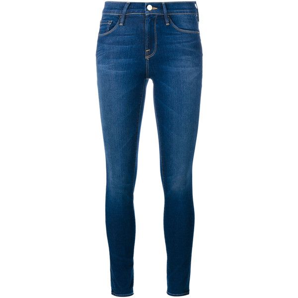 FRAME DENIM Le Skinny de Jeanne Ultra Skinny Jeans (400 CAD) ❤ liked on Polyvore featuring jeans, pants, bottoms, calças, frame denim, blue skinny jeans, super skinny jeans, straight-leg jeans and cropped skinny jeans