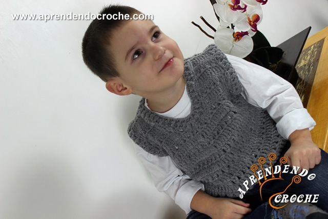 Colete de Crochê Infantil Menino
