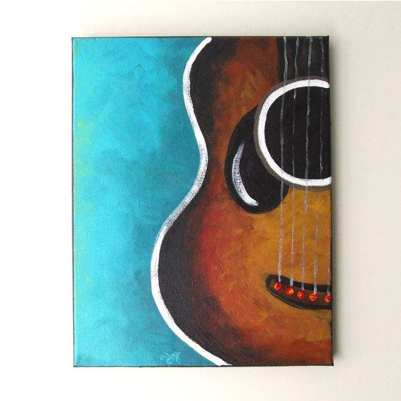 Art for the music lover! GUITAR Original Canvas Painting 11x14 acrylic Music by…