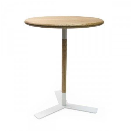 table dappoint ronde chne et blanche corona - Table D Appoint Ronde