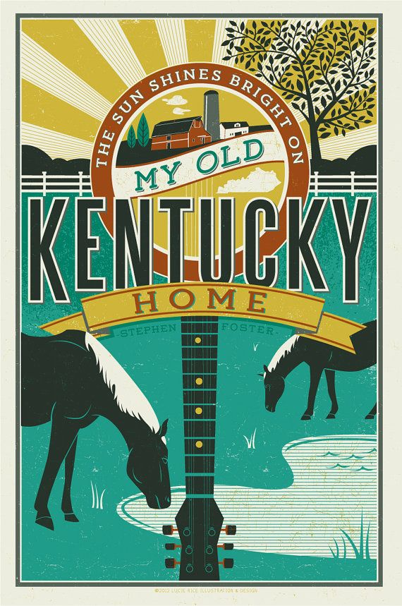 My Old Kentucky Home poster by LucieRicePrints on Etsy