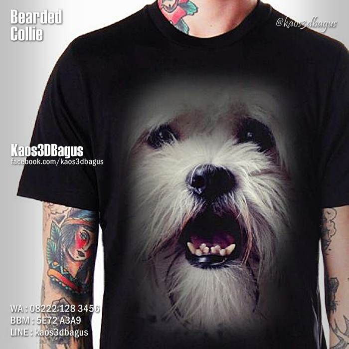 Kaos BEARDED COLLIE DOG, Kaos DOGGY, Kaos ANJING LUCU, Dog Lover, https://instagram.com/kaos3dbagus