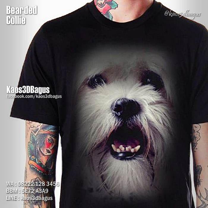 Kaos BEARDED COLLIE DOG, Kaos DOGGY, Kaos ANJING LUCU, Dog Lover, https://instagram.com/kaos3dbagus