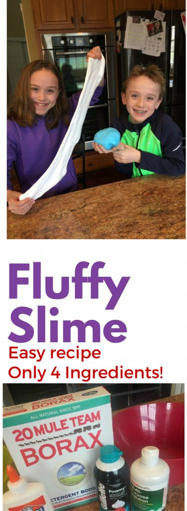 Fluffy Slime Recipe. Easy with only 4 ingredients! Try this with your kids, they will love it!
