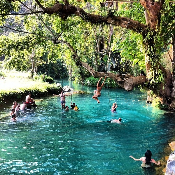 Blue Lagoon, Vang Vieng, Laos. I have always wanted to swing on a rope into a lake...idk if i should travel to laos just to accomplish this but sure why not.