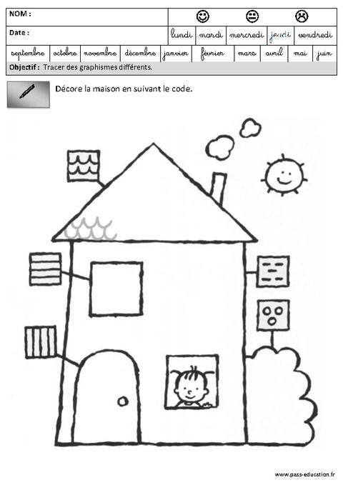 Fiches p dagogiques exercices graphisme maternelle grande section gs pass education - Coloriage grande section maternelle ...