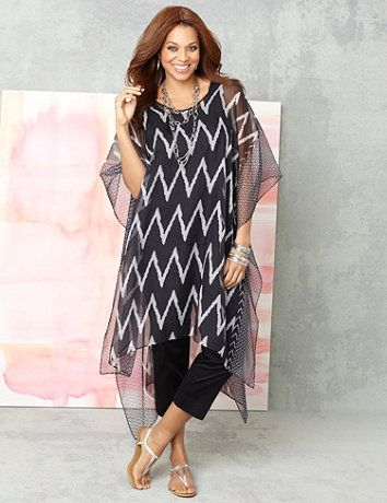Flattering caftan comes in a trend-right chevron print along the silky, sheer fabric. Cascading style features a V-neckline with a solid trim, draping sleeves and an asymmetrical hem that falls longer on each side. Catherines tops are designed for the plus size woman to guarantee a flattering fit.  catherines.com