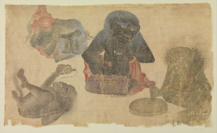 Four captive demons, attr. Muhammad Siyah Qalam (Black Pen).  Iran or Central Asia, 1470–1500  Watercolor and gold on silk