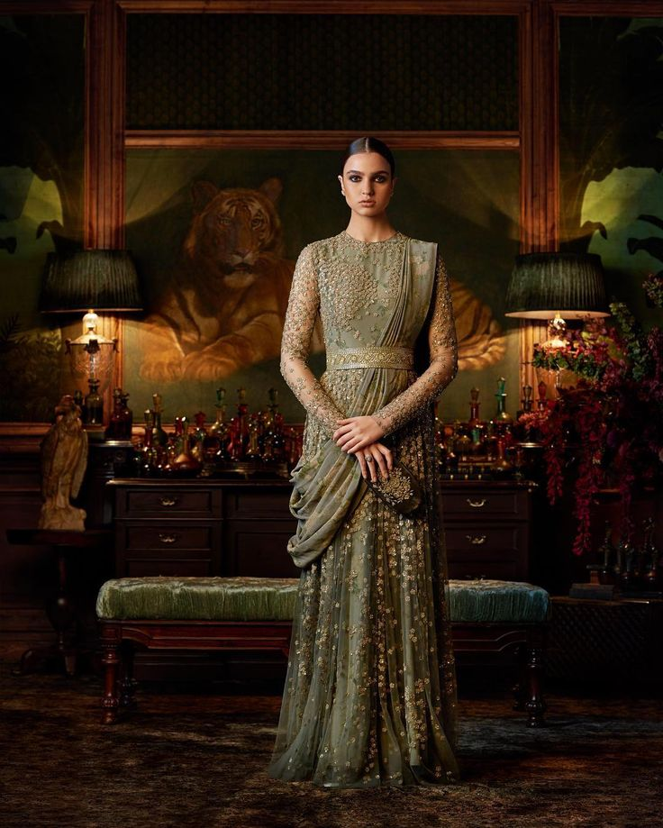 The drape of the dupatta is interesting. Sabyasachi Couture 2016.
