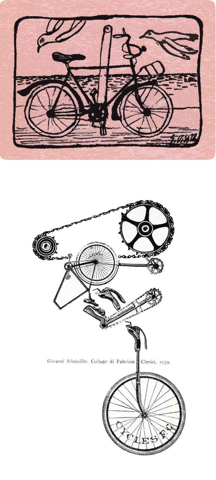 La BICICLETTA. Copia N. CXC. Disegno di Giuseppe Viviani; collage di Fabrizio Clerici.
