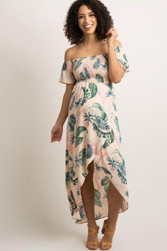 94f180596b168 Peach Leaf Print Smocked Off Shoulder Maternity Dress | Hopeful ...