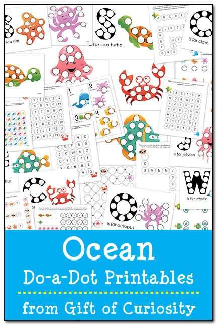 ocean do a dot printables - Color Patterns For Kids