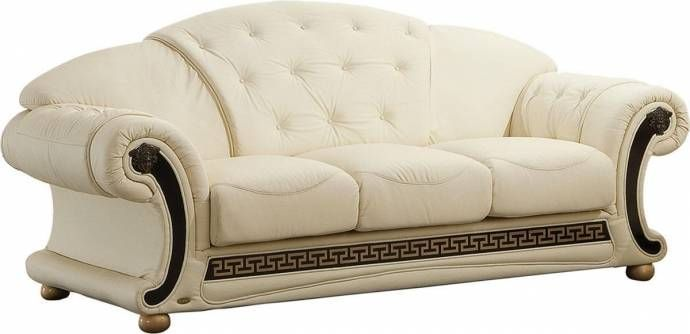 Ivory Top Grain Leather Sofa Contemporary Made In Italy Esf Apolo