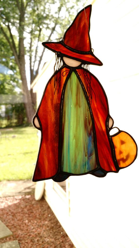 Little Halloween Witch Stained Glass Suncatcher