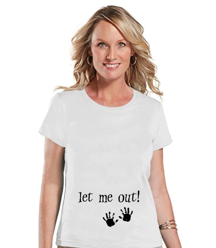 Halloween Pregnancy Announcement Shirt - Let Me Out! Pregnancy Reveal Tshirt - Halloween Pregnancy Shirt - White Tshirt - Pregnancy Reveal