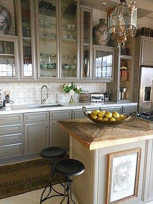 michelleNiday interiors Grey cabinets, inset wood counter, cream painted brick backsplash