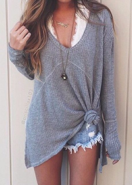 grey sweater + cutoffs #freepeople