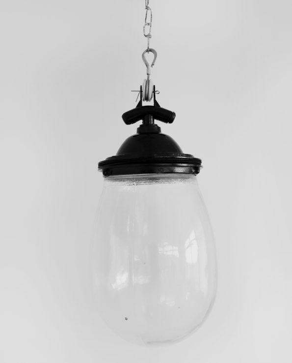 Glass Drop (Black) An oversized glass bulb made from a rough mould gives this light a great vintage feel. Manufactured in the traditional style, each piece has slight imperfections to give it a unique look.