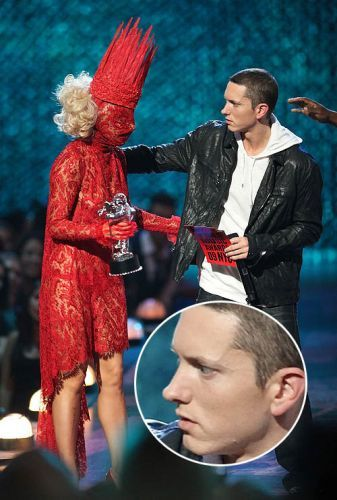 Eminem meeting Lady Gaga for the first time. Now that's genuine concern.
