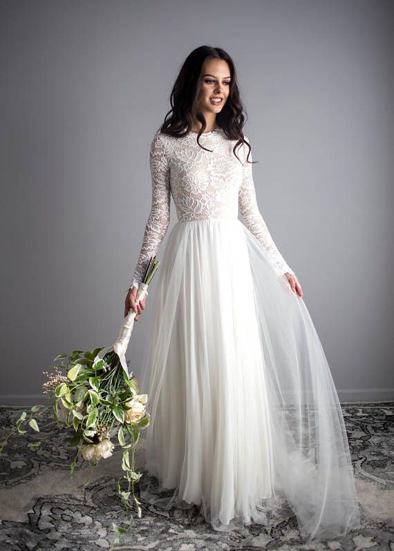 Long Sleeve Wedding Dress Scoop Back Wedding Dress Wear Your #ILoveWeddings #satinweddingdresses