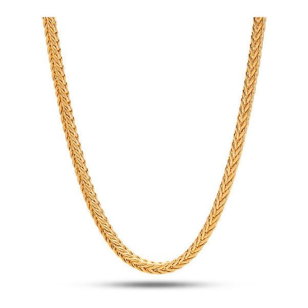 King Ice 4mm 18K Gold Franco Chain ($38) ❤ liked on Polyvore featuring men's fashion, men's jewelry, men's necklaces and gold
