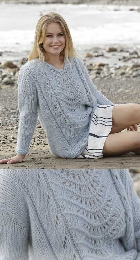 Free Knitting Pattern for a Lace Sweater with a feather and fan stitch panel in the front.