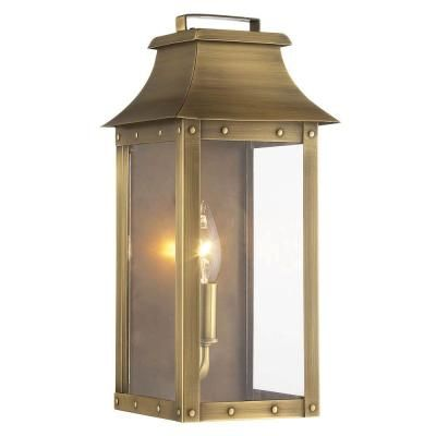 Acclaim Lighting Manchester Collection 1-Light Aged Brass Outdoor Wall Lantern-8413AB - The Home Depot