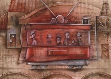 SOLD. A Red Tram by Eugene Ivanov, watercolor on paper, 29 X 41 cm. #eugeneivanov #@eugene_1_ivanov #modern #original #oil #watercolor #painting #sale #art_for_sale #original_art_for_sale #modern_art_for_sale #canvas_art_for_sale #art_for_sale_artworks #art_for_sale_water_colors #art_for_sale_artist #art_for_sale_eugene_ivanov