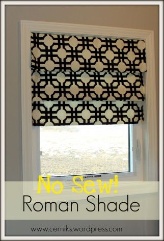 No Sew Roman Shade...Made with 3 tension rods...