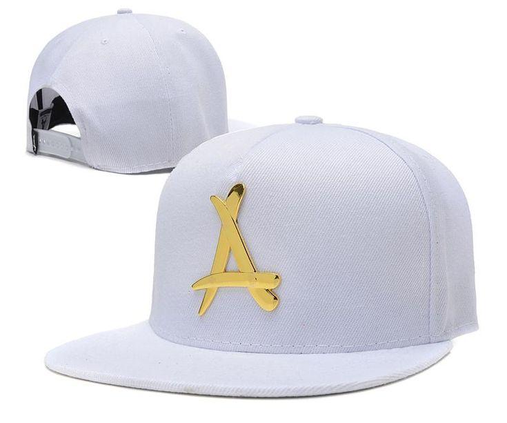 "Mens THA Alumni The Classic ""A"" Iron Gold Metal Logo A-Frame USA 2016 Best Quality Fashion Leisure Snapback Cap - White"