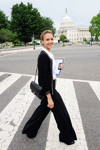 Jessica Alba style: wide pants and chanel 2.55