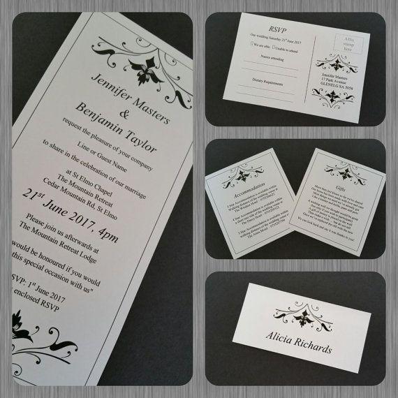 DIY Editable, Printable Flourish Black & White Wedding, Engagement Invitation Template Set - Invite, Reply, Info, Gift, Place Card download