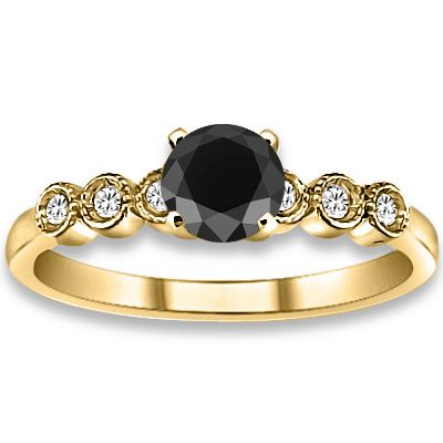 0.59 ctw 14k YG A Black, Accent G-H Color, I1 Clarity Diamonds Engagement Ring, At : $306.18 #Engagementrings #Rings #Ring  #jewelry @pricepointshop
