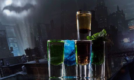 batman party cocktails. tip to those fellow entertainers. if u add tonic water to your cocktails they will react in the black light! picked that up in my full-time bartender days...