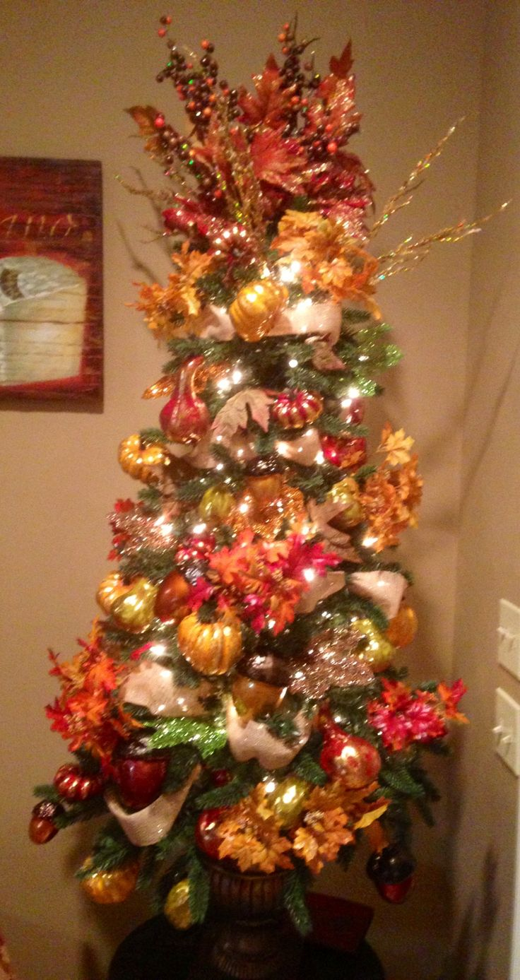 Thankful Tree - sugared fruit & veg, leaves, acorns, pine cones, copper, burgundy, gold, with pops or red & orange