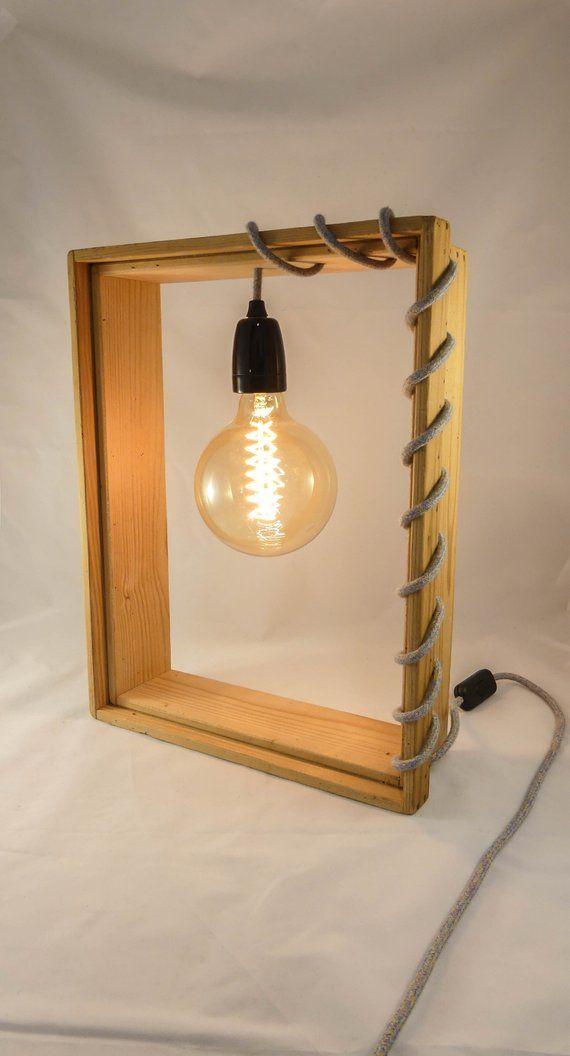 Lampe En Bois Cadre Vintage Ampoule Filament Pimp My Light