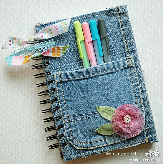 Recycle those old jeans... and cover a note pad! How clever is this?