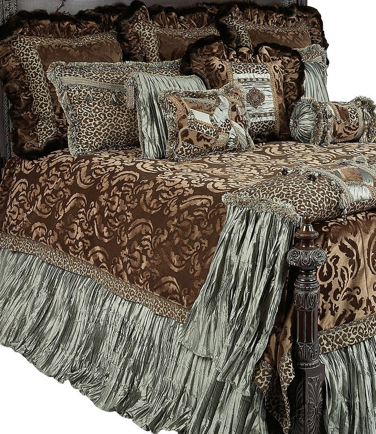 The Aristocat Luxury Bedding Collection Combines A Milk Chocolate Colored  Cut Velvet With A Fun Leopard Print, Green Crushed Silks, And A Rich Faux  Mink.