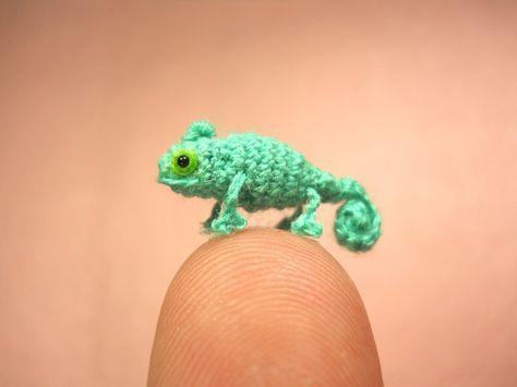 Micro Blue Chameleon  Miniature Crochet mini Amigurumi