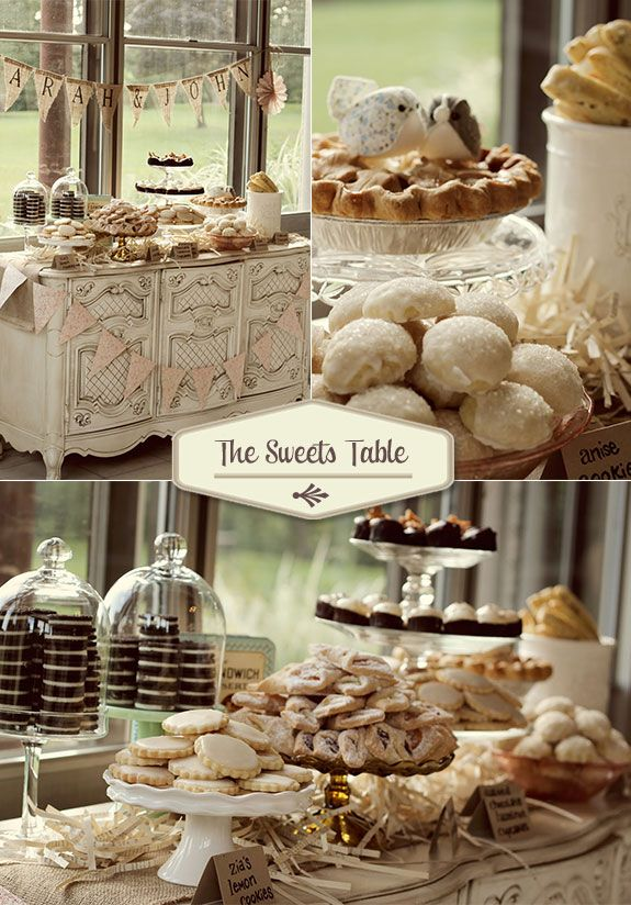 Vintage sweets table with lemon cookies, cupcakes, and pie by Whimsy Decor #vintageweddings #vintageweddingideas
