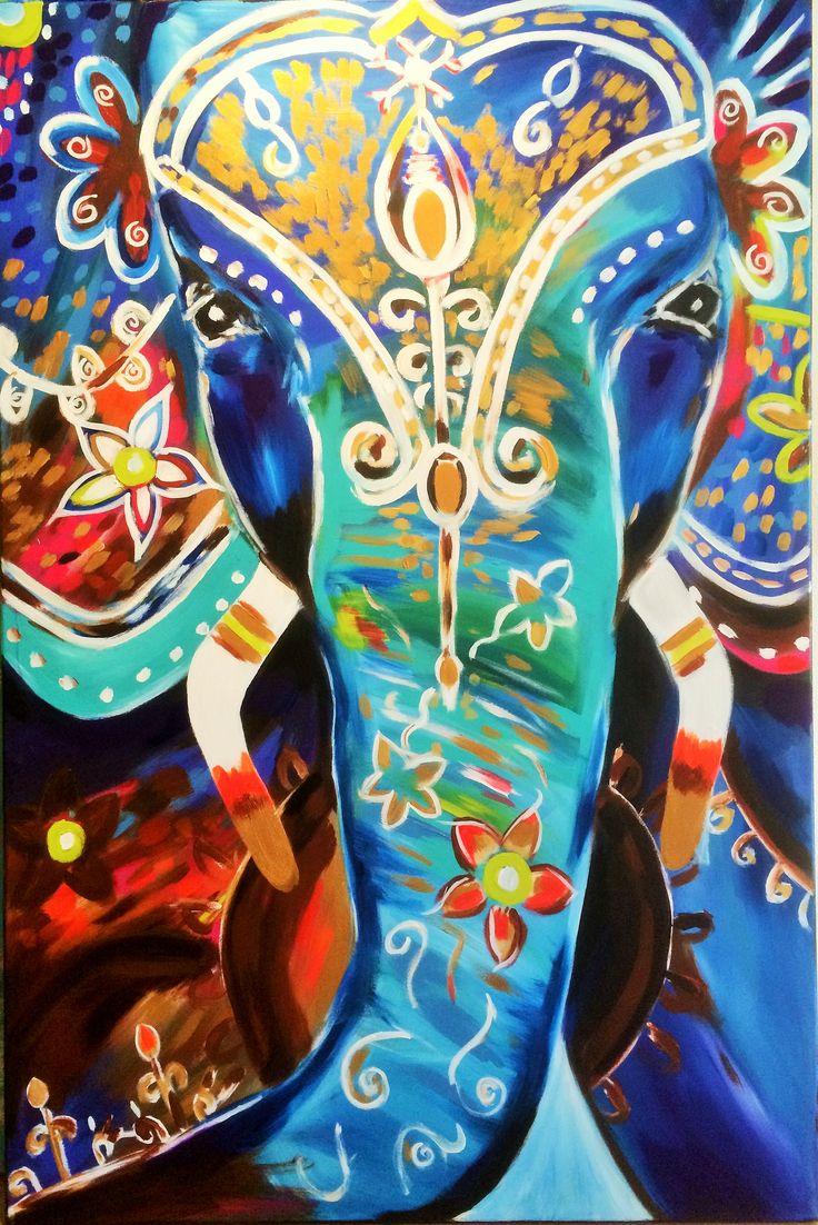 indian, elephant, bohemian painting, lotus, flowers, www.artisoof.nl