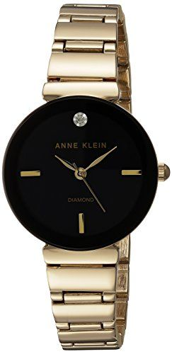 Anne Klein Womens AK2434BKGB DiamondAccented GoldTone Bracelet Watch -- To view further for this item, visit the image link.Note:It is affiliate link to Amazon.