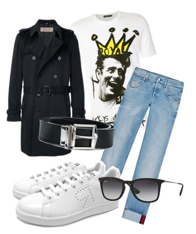 """Casual look"" by missblack-scarf on Polyvore featuring Dolce&Gabbana, Gucci, adidas, Burberry, Ray-Ban, men's fashion and menswear"