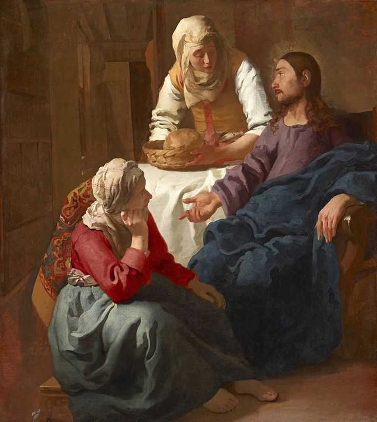 Vermeer c1654-55 Christ in the house of Martha and Mary  oil on canvas