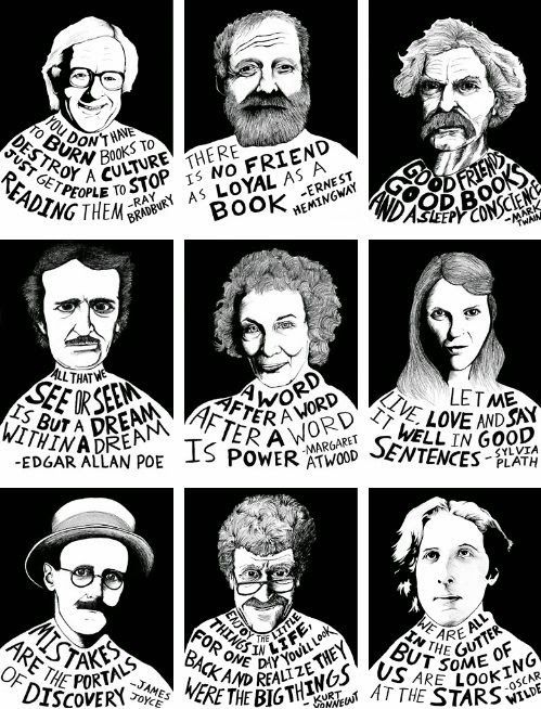 Great Photographic of famous authors and their takes on books: Bradbury, Poe, Twain, Plath, Atwood, and more.... High School English