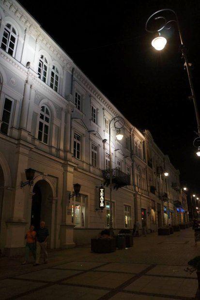Kielce nocą, ulica Sienkiewicza