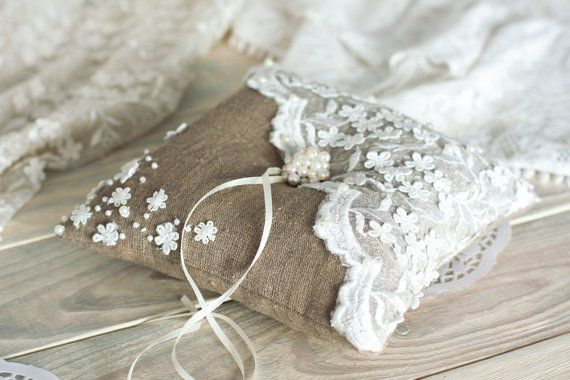 Vintage Wedding ring pillow with  lace and  pearl / Burlap and white via Etsy
