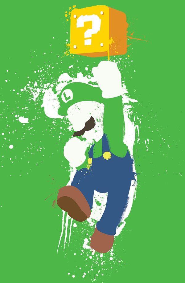 Super Mario Luigi splash art