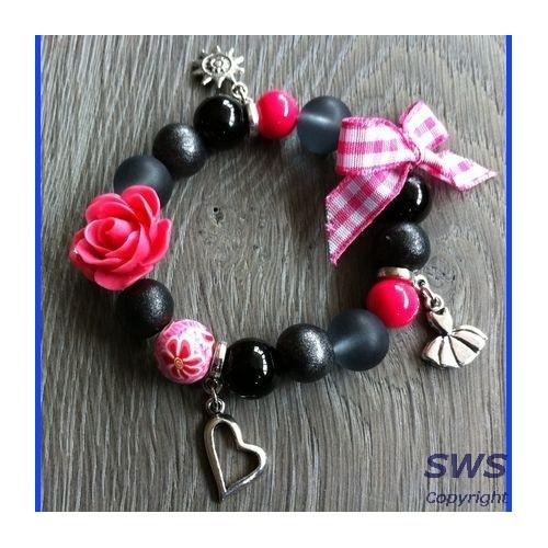 Kinder sieraden, AS002 - Rose zwarte grijze armband bedels strikje